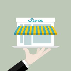 Ready-made store offered on a plate vector illustration