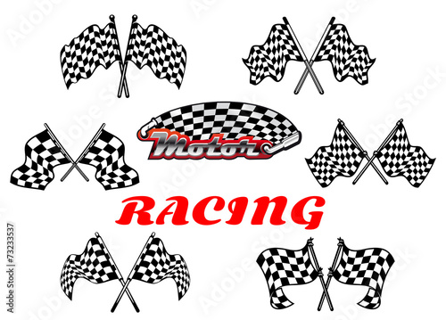 Fototapeta Black and white heraldic checkered racing flags