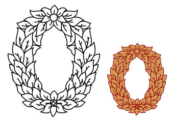 Uppercase alphabet letter O in leaves and flowers