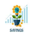 Growing money flat concept