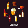 Drinks and beverages flat icons