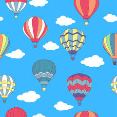 Seamless pattern of flying hot air balloons