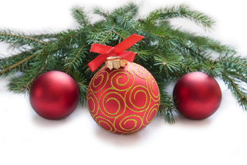 Christmas red ball, twig of fir