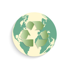Recycle Earth Button Illustration