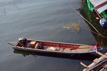 Long-tailed boat in Song Kalia River at  Sangkhlaburi