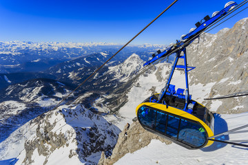 Winter mountains, cable car, ski lft  - Austrian Alps