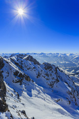 Winter mountains, panorama of the Austrian Alps