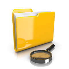 Yellow Document Folder with Magnifier