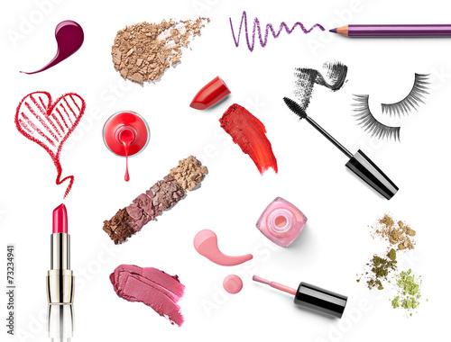 Leinwandbild Motiv make up beauty lipstick nail polish liquid powder mascara pencil