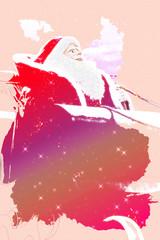 Santa Claus riding a sled illustration