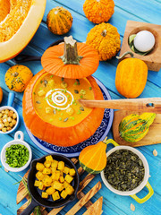 Pumpkin soup, healthy food