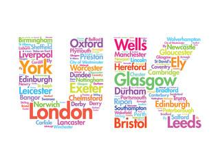 United Kingdom words cloud, cities, travel, agency logotype