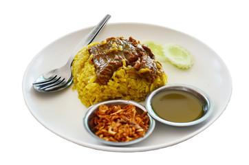 Beef Biryani with green chutney