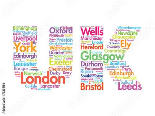 United Kingdom words cloud, cities, travel, agency logotype