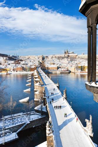 Prague castle and Charles bridge, Prague, Czech republic - 73235317