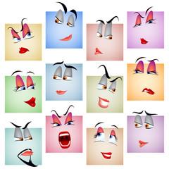 Smile Avatar Icon Emotion Face Set; eps8