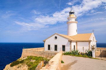 Lighthouse on cliff and sea view, Cala Ratjada, Majorca island