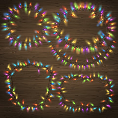 Set of Glowing Christmas Garland. EPS 10