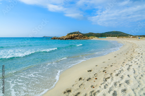 Foto op Plexiglas Cyprus Footprints in sand on Porto Giunco beach, Sardinia island, Italy