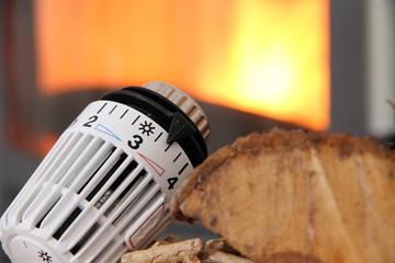 Ofen mit Heizungsthermostat und Holz