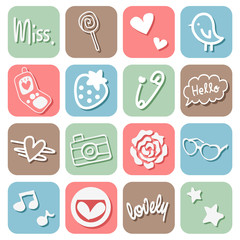 Sweet Cute Icons Set