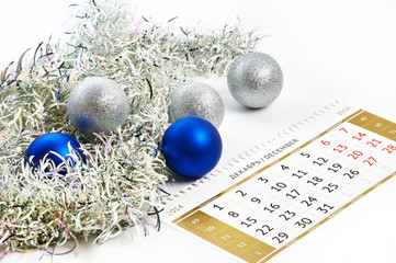 Christmas calendar and prepare for the New Year isolated