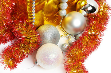 Christmas balls and tinsel as symbol of New Year