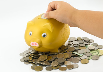 little hand inserting a coin into a piggy bank