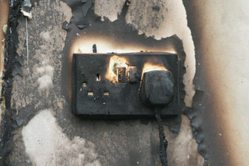 fire damaged electrical socket