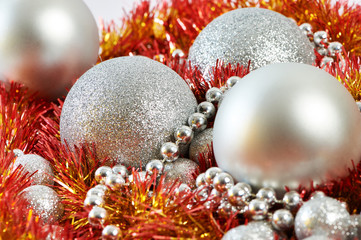 Christmas balls and tinsel of New Year