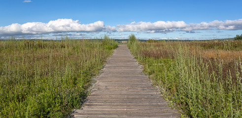 Old walkway towards blue cloudy sky
