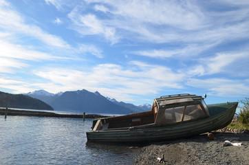 boat on shore of Lake Nahuel Huapi, Patagonian Andes, Bariloche