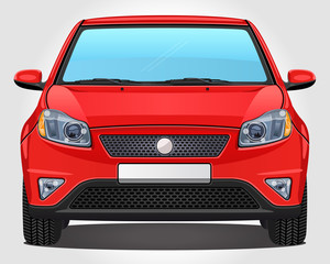 Vector red Car - Front view