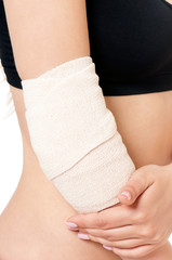 Close-up of bandaging