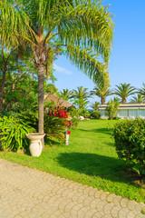Tropical gardens of luxury hotel on Sardinia island, Italy