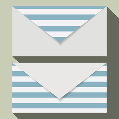 Striped business card set. Blue and white envelopes tempelate