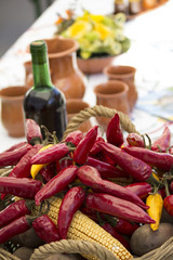 Red pepper and corn in basket