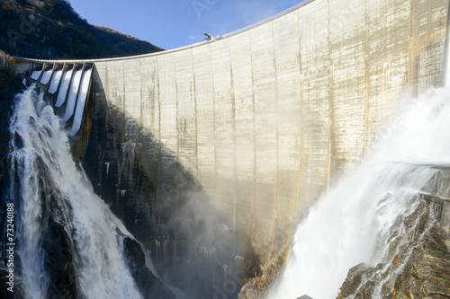 Leinwanddruck Bild The dam of Verzasca on the italian part of Swtzerland