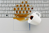 Coffee spilled on keyboard,