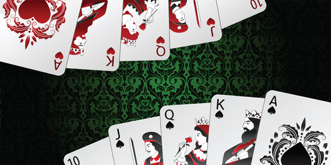 Vector background. Royal flush in spades and hearts.