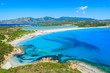 View of Villasimius lagoon beach and blue sea, Sardinia island