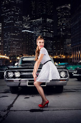Girl pin-up, retro car