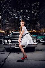Girl pin-up, retro car