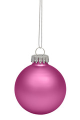Magenta christmas ball isolated on white background