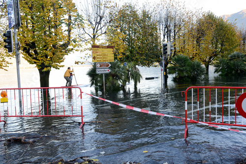 Inundation of lake Maggiore at Locarno