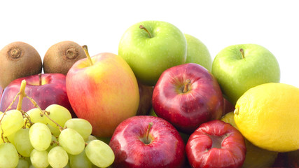 Close-up  group fruits on White background
