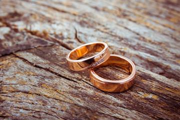 Pair of rose-gold wedding rings