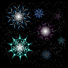 Neon snowflakes for new year