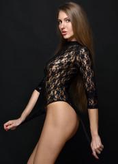 Beautifu woman in black lace lingerie,