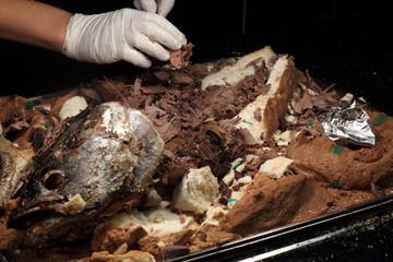 Salt baked tuna on tray